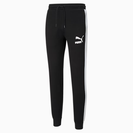 Iconic T7 Double Knit Men's Track Slim Pants, Puma Black, small-IND
