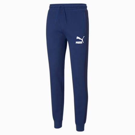 Iconic T7 Double Knit Men's Track Slim Pants, Elektro Blue, small-IND