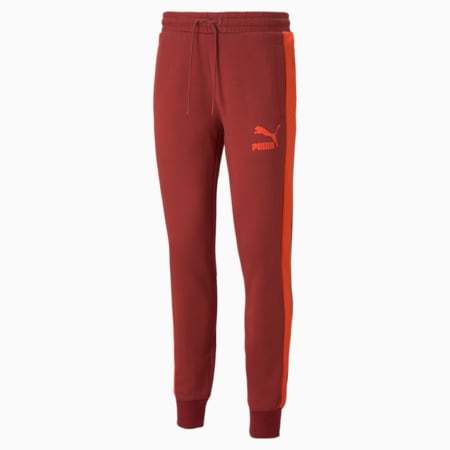 Iconic T7 Double Knit Men's Track Pants, Intense Red, small-GBR