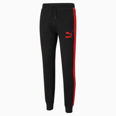 Pantalon de survêtement en maille double Iconic T7 homme, Puma Black-High Risk Red, small