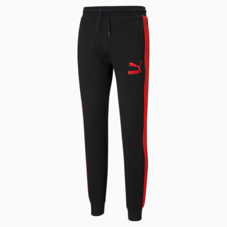 Iconic T7 Double Knit Men's Track Slim Pants, Puma Black-High Risk Red, small-IND