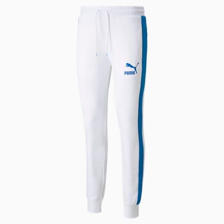 Iconic T7 Double Knit Men's Track Pants, Puma White-Future Blue, small