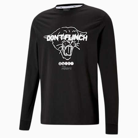Camiseta de baloncesto de manga larga Q1 Fran para hombre, Puma Black, small