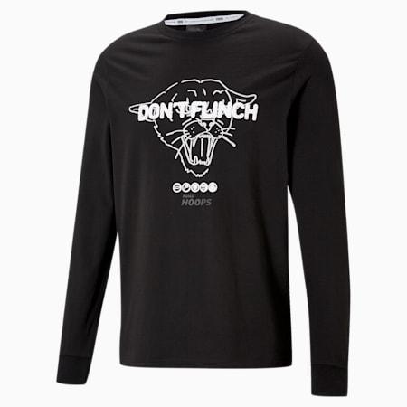 Q1 Fran basketbal-T-shirt met lange mouwen heren, Puma Black, small