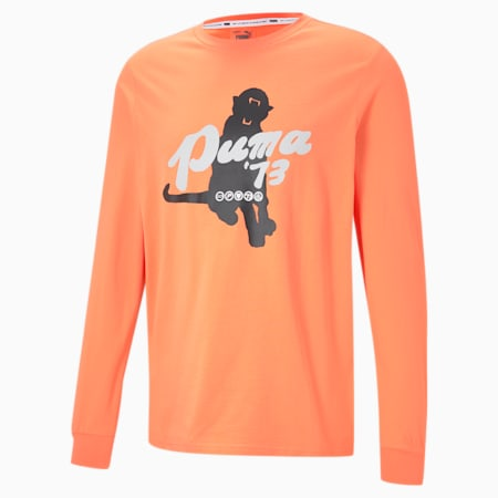 Franchise Men's Long Sleeve Basketball Tee, Fiery Coral, small