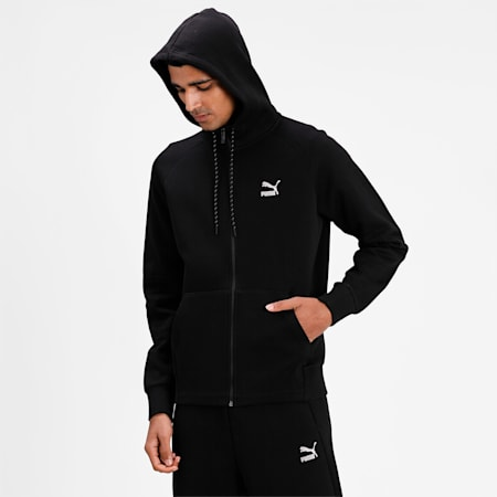 Classics Tech Full-Zip Men's Hoodie, Puma Black, small-IND