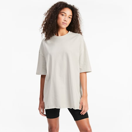 Oversized Women's Tee, Vaporous Gray, small