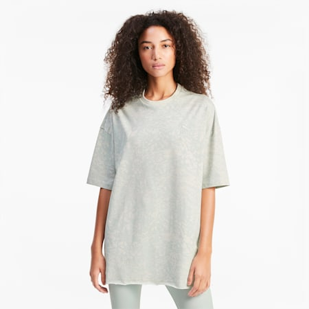 All-Over Printed Oversized Women's Tee, Sky Gray-AOP, small