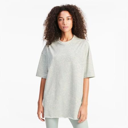 T-shirt donna oversize con stampa su tutta la superficie, Sky Gray-AOP, small