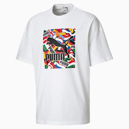 Flag Graphic T-shirt voor heren, Puma White, small