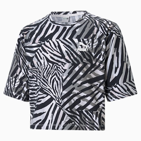 Classics Safari Printed Kid's   T-shirt, Puma White, small-IND