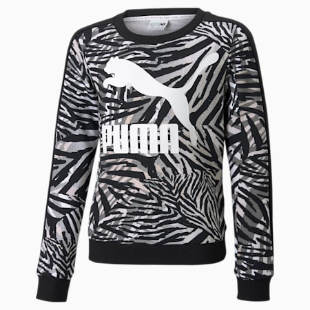 Classics T7 Crew Neck Printed Youth Sweatshirt, Puma White, small