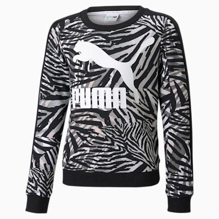 Classics T7 Jugend Sweatshirt mit Rundhalsausschnitt und All-over-Print, Puma White, small