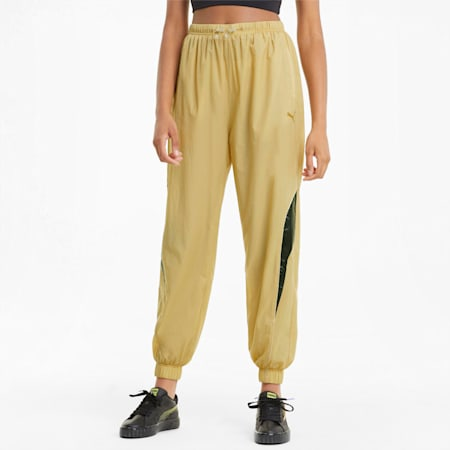 Evide Woven Women's Track Pants, Puma Team Gold, small-GBR