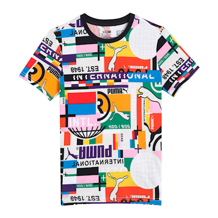 PUMA International Printed Kid's   T-shirt, Puma White-game, small-IND