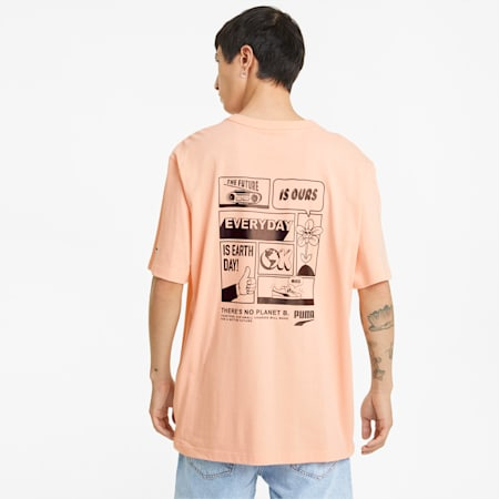 Downtown Men's Graphic Tee, Apricot Blush, small