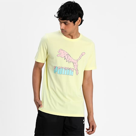Graphic Play Logo Men's  T-shirt, Yellow Pear, small-IND