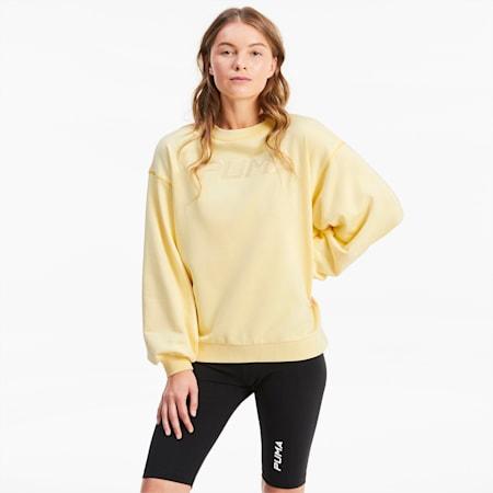 Damen Sweatshirt mit Rundhalskragen, Mellow Yellow, small