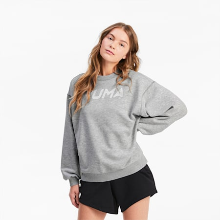 Crew Neck Women's Sweater, Light Gray Heather, small