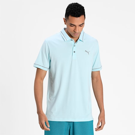 CLOUDSPUN Monarch Men's Golf Performance Polo, Blue Glow Heather-Quiet Shade, small-IND