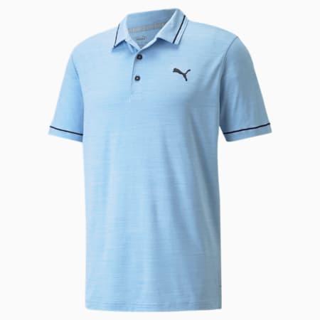 CLOUDSPUN Monarch Men's Golf Polo Shirt, Placid Blue Hthr-Navy Blazer, small-SEA