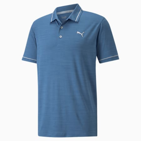 CLOUDSPUN Monarch Men's Golf Polo Shirt, Federal Blue Heather-High Rise, small-SEA