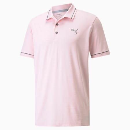 CLOUDSPUN Monarch Men's Golf Polo Shirt, Parfait Pink Heather-QUIET SHADE, small-SEA