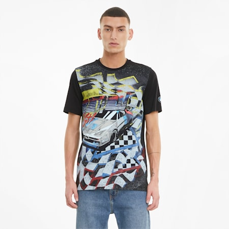 BMW M Motorsport Street Vintage Men's  T-shirt, Puma Black, small-IND