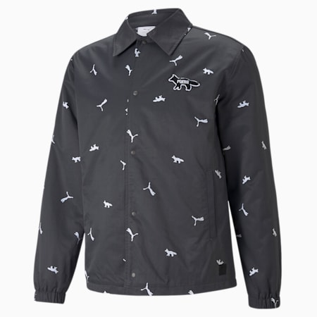 PUMA x MAISON KITSUNÉ Unisex Printed Coach Jacket, Puma Black, small