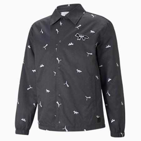 PUMA x MAISON KITSUNÉ Unisex Printed Coach Jacket, Puma Black, small-GBR