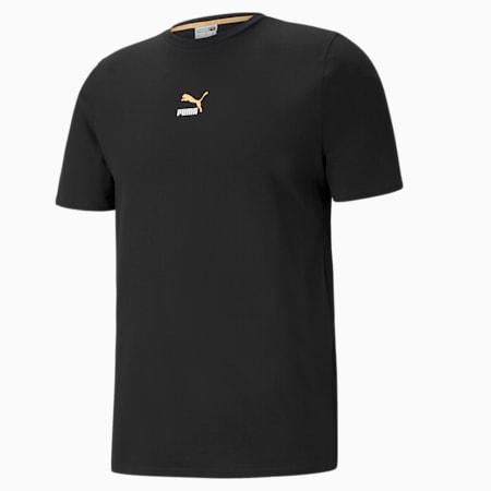 Męski T-shirt Elevate Tape, Puma Black-Peach, small