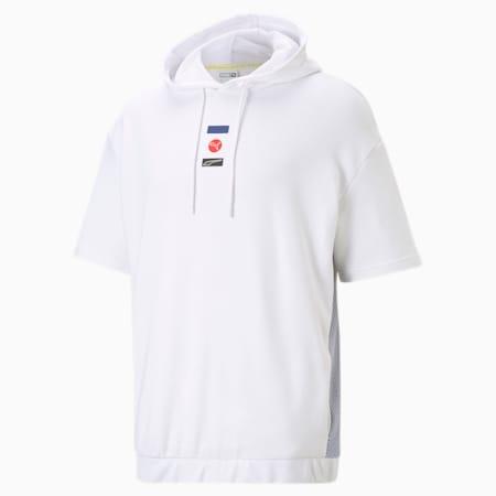 Męska bluza z kapturem i krótkim rękawem DECOR8, Puma White, small