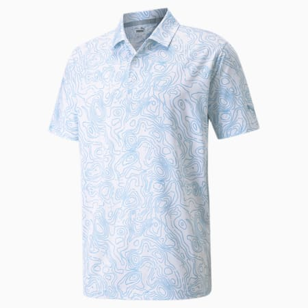 Camiseta tipo polo MATTR Topo para hombre, Bright White-Placid Blue, pequeño