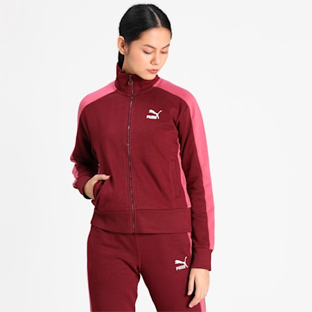 Classic T7 Women's Track Jacket, Burgundy, small-IND