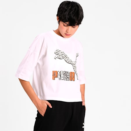Classics Loose Fit T-Shirt, Puma White-animal, small-IND