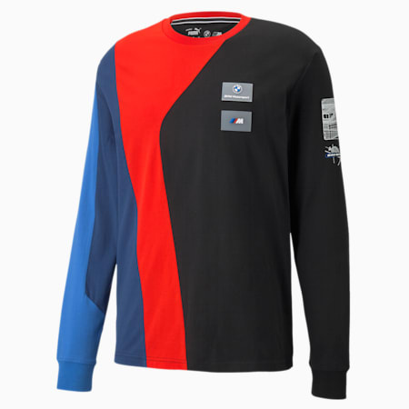 Camiseta manga larga BMW M Motorsport Street para hombre, Marina-Blueprint-High Risk Red, pequeño