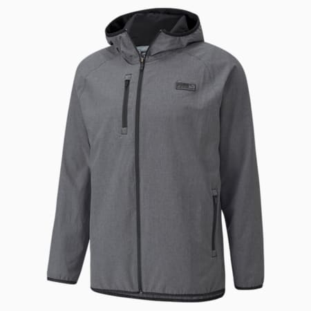 EGW Slim Fit Men's Hooded Performance Jacket, Puma Black Heather, small-IND