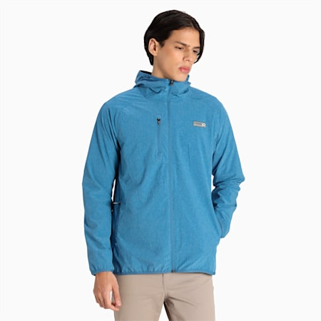 EGW Slim Fit Men's Hooded Performance Jacket, Federal Blue Heather, small-IND