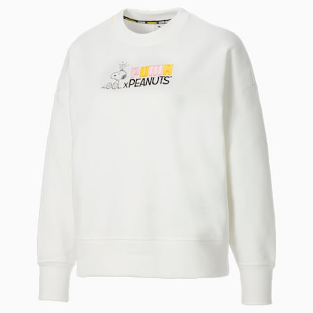 PUMA x PEANUTS Damen Sweatshirt mit Rundhalsausschnitt, Puma White, small