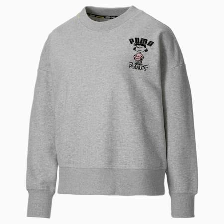 PUMA x PEANUTS Women's Crewneck Sweatshirt, Light Gray Heather, small-GBR