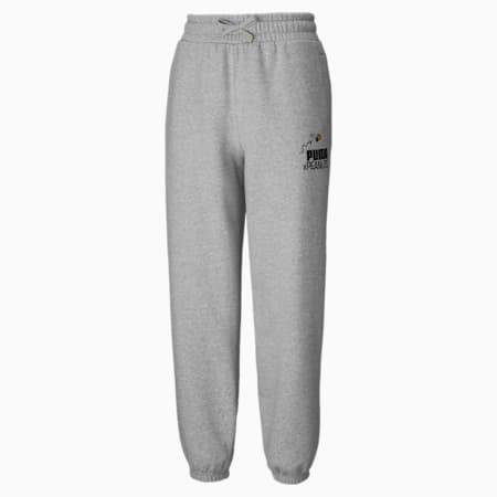 PUMA x PEANUTS Damen Sweatpants, Light Gray Heather, small