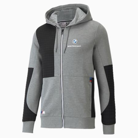 BMW M Motorsport hoodie met volledige ritssluiting heren, Medium Gray Heather, small
