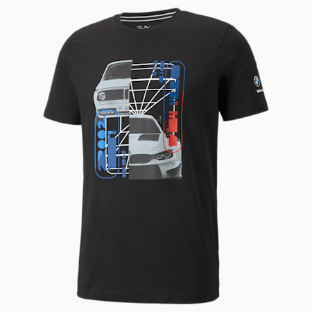 Camiseta estampada con auto BMW M Motorsport para hombre, Puma Black, pequeño