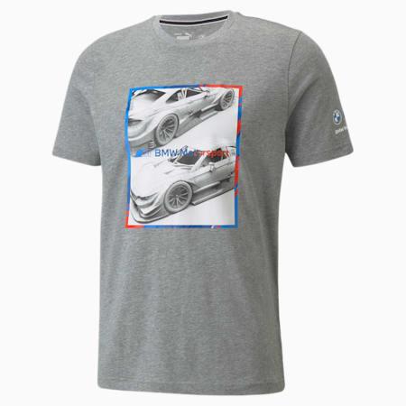 T-shirt à logo graphique BMW M Motorsport, homme, Gris bruyère moyen, petit