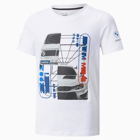 T-shirt avec graphique BMW M Motorsport Car, enfant, Blanc Puma, petit