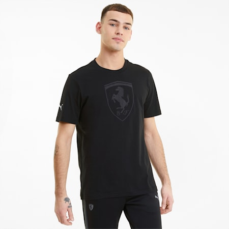 Camiseta tonal con escudo grande Scuderia Ferrari Race para hombre, Puma Black, small