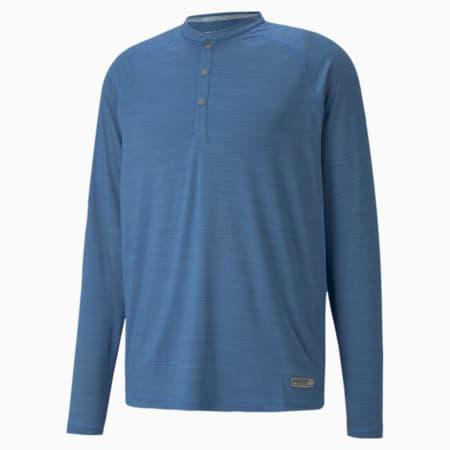 Excellent Golf Wear Cloudspun LS Henley Men's Shirt, Federal Blue Heather, small-GBR