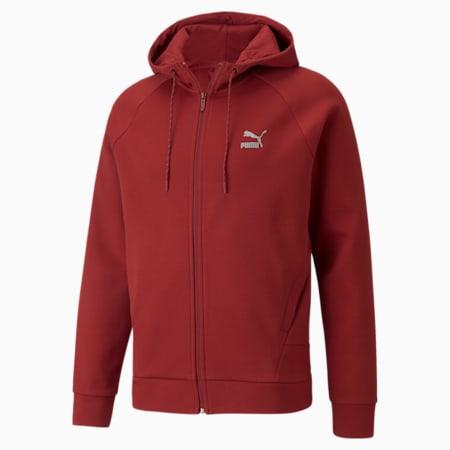 Sudadera con capucha de cierre completo Classics Tech para hombre, Intense Red, pequeño