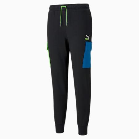 Pantalones cargo de felpa CLSX para hombre, Puma Black-Green-Blue, pequeño