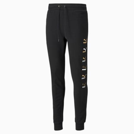 Pantalones de felpa CG Placement para hombre, Puma Black-dorado, pequeño